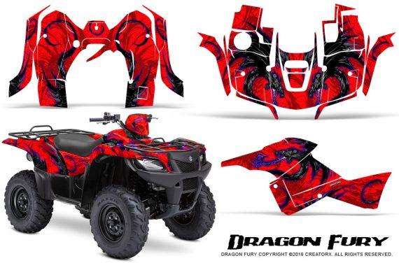 Suzuki King Quad 500AXI CreatorX Graphics Kit Dragon Fury Blue Red 570x376 - Suzuki King Quad 500 AXi 2013-2015 Graphics
