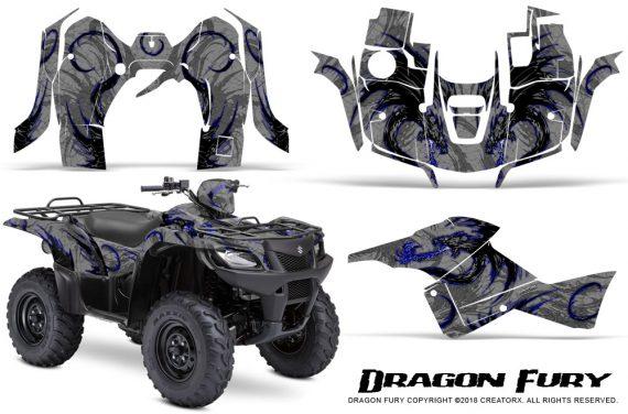 Suzuki King Quad 500AXI CreatorX Graphics Kit Dragon Fury Blue Silver 570x376 - Suzuki King Quad 500 AXi 2013-2015 Graphics
