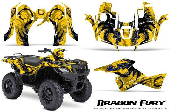 Suzuki King Quad 500AXI CreatorX Graphics Kit Dragon Fury Blue Yellow 570x376 - Suzuki King Quad 500 AXi 2013-2015 Graphics