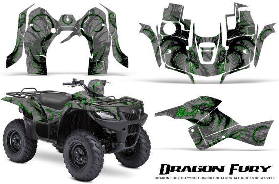 Suzuki King Quad 500AXI CreatorX Graphics Kit Dragon Fury Green Silver 570x376 - Suzuki King Quad 500 AXi 2013-2015 Graphics