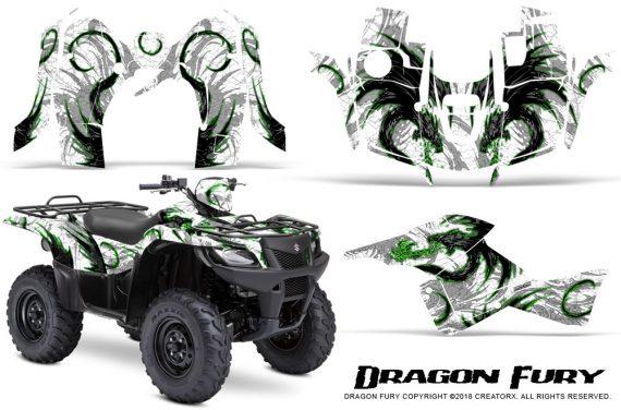Suzuki King Quad 500AXI CreatorX Graphics Kit Dragon Fury Green White 570x376 - Suzuki King Quad 500 AXi 2013-2015 Graphics