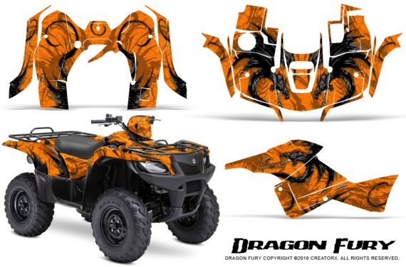 Suzuki King Quad 500AXI CreatorX Graphics Kit Dragon Fury Orange Orange 570x376 - Suzuki King Quad 500 AXi 2013-2015 Graphics