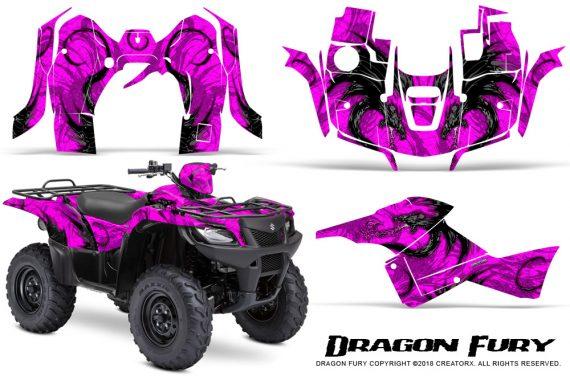 Suzuki King Quad 500AXI CreatorX Graphics Kit Dragon Fury Pink Pink 570x376 - Suzuki King Quad 500 AXi 2013-2015 Graphics