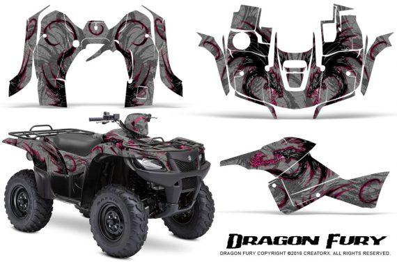 Suzuki King Quad 500AXI CreatorX Graphics Kit Dragon Fury Pink Silver 570x376 - Suzuki King Quad 500 AXi 2013-2015 Graphics