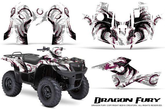 Suzuki King Quad 500AXI CreatorX Graphics Kit Dragon Fury Pink White 570x376 - Suzuki King Quad 500 AXi 2013-2015 Graphics