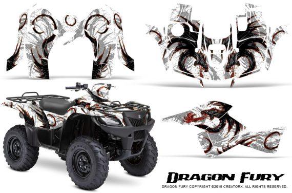 Suzuki King Quad 500AXI CreatorX Graphics Kit Dragon Fury Red White 570x376 - Suzuki King Quad 500 AXi 2013-2015 Graphics