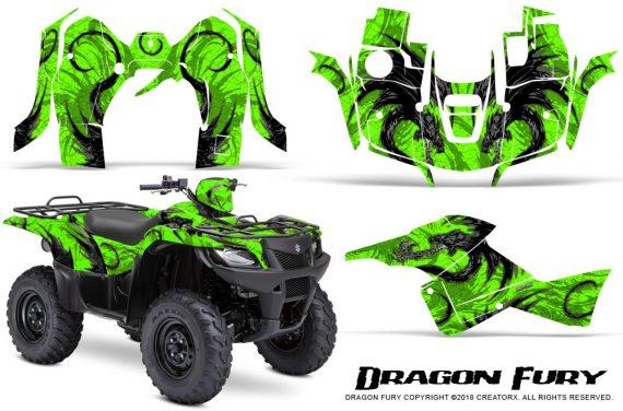 Suzuki King Quad 500AXI CreatorX Graphics Kit Dragon Fury Silver Green 570x376 - Suzuki King Quad 500 AXi 2013-2015 Graphics