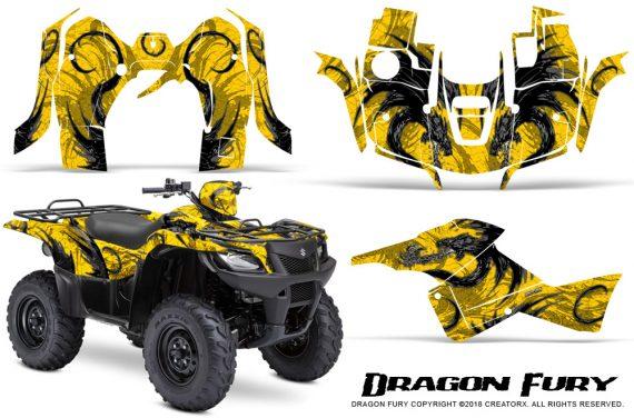 Suzuki King Quad 500AXI CreatorX Graphics Kit Dragon Fury Silver Yellow 570x376 - Suzuki King Quad 500 AXi 2013-2015 Graphics