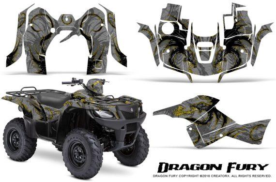 Suzuki King Quad 500AXI CreatorX Graphics Kit Dragon Fury Yellow Silver 570x376 - Suzuki King Quad 500 AXi 2013-2015 Graphics