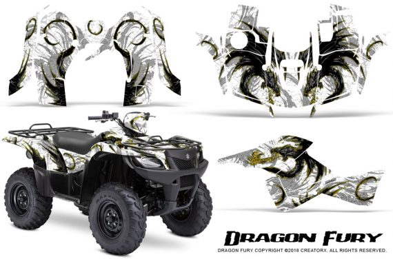 Suzuki King Quad 500AXI CreatorX Graphics Kit Dragon Fury Yellow White 570x376 - Suzuki King Quad 500 AXi 2013-2015 Graphics