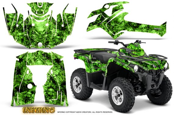 Can Am Outlander L 2014 2016 CreatorX Graphics Kit Inferno Green 570x376 - Can-Am Outlander 2014-2019 450 570 L Max-L DPS Graphics
