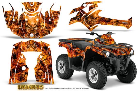 Can Am Outlander L 2014 2016 CreatorX Graphics Kit Inferno Orange 570x376 - Can-Am Outlander 2014-2019 450 570 L Max-L DPS Graphics