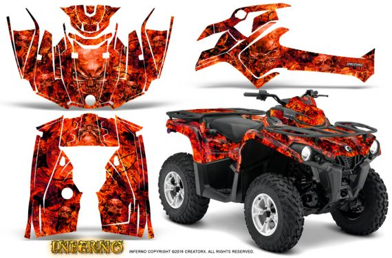 Can Am Outlander L 2014 2016 CreatorX Graphics Kit Inferno Red 570x376 - Can-Am Outlander 2014-2019 450 570 L Max-L DPS Graphics