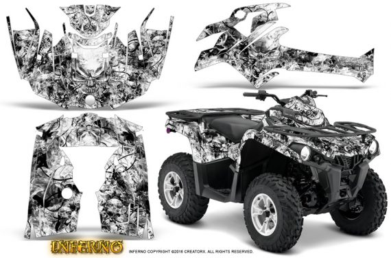 Can Am Outlander L 2014 2016 CreatorX Graphics Kit Inferno White 570x376 - Can-Am Outlander 2014-2019 450 570 L Max-L DPS Graphics