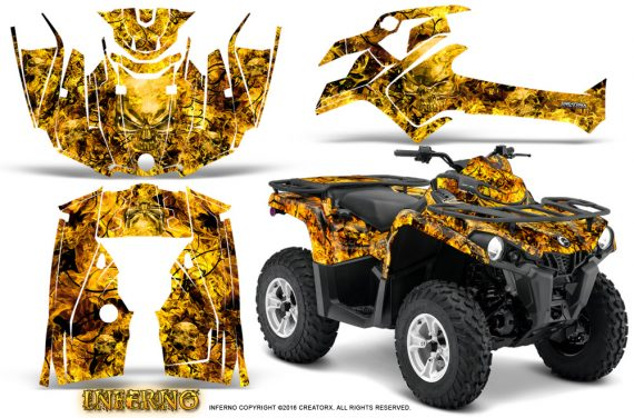 Can Am Outlander L 2014 2016 CreatorX Graphics Kit Inferno Yellow 570x376 - Can-Am Outlander 2014-2019 450 570 L Max-L DPS Graphics