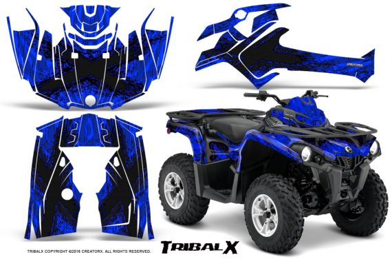 Can Am Outlander L 2014 2016 CreatorX Graphics Kit TribalX Black Blue 570x376 - Can-Am Outlander 2014-2019 450 570 L Max-L DPS Graphics