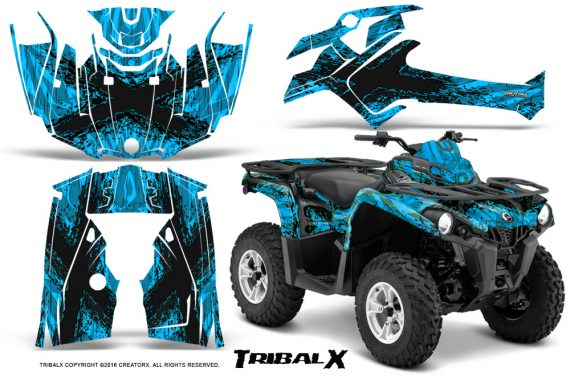 Can Am Outlander L 2014 2016 CreatorX Graphics Kit TribalX Black BlueIce 570x376 - Can-Am Outlander 2014-2019 450 570 L Max-L DPS Graphics