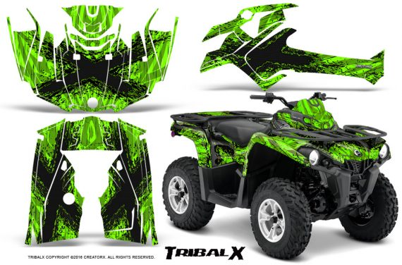 Can Am Outlander L 2014 2016 CreatorX Graphics Kit TribalX Black Green 570x376 - Can-Am Outlander 2014-2019 450 570 L Max-L DPS Graphics