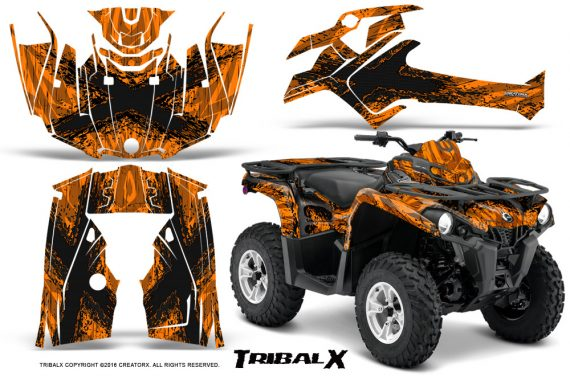 Can Am Outlander L 2014 2016 CreatorX Graphics Kit TribalX Black Orange 570x376 - Can-Am Outlander 2014-2019 450 570 L Max-L DPS Graphics