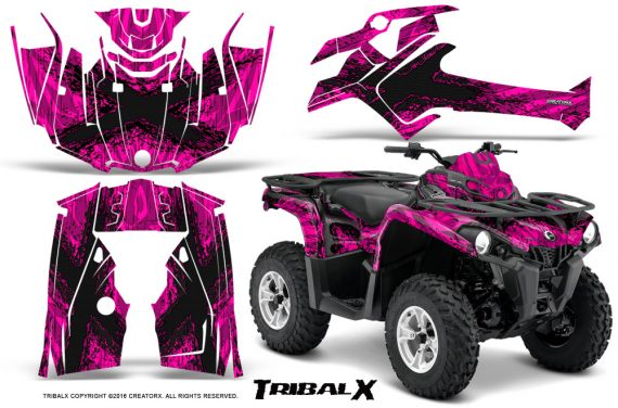 Can Am Outlander L 2014 2016 CreatorX Graphics Kit TribalX Black Pink 570x376 - Can-Am Outlander 2014-2019 450 570 L Max-L DPS Graphics