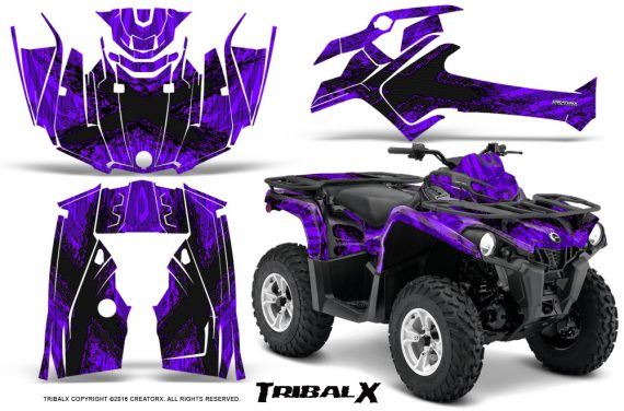 Can Am Outlander L 2014 2016 CreatorX Graphics Kit TribalX Black Purple 570x376 - Can-Am Outlander 2014-2019 450 570 L Max-L DPS Graphics