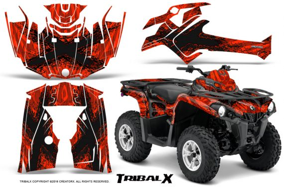 Can Am Outlander L 2014 2016 CreatorX Graphics Kit TribalX Black Red 570x376 - Can-Am Outlander 2014-2019 450 570 L Max-L DPS Graphics