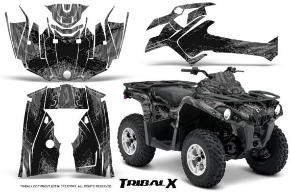 Can Am Outlander L 2014 2016 CreatorX Graphics Kit TribalX Black Silver 570x376 - Can-Am Outlander 2014-2019 450 570 L Max-L DPS Graphics