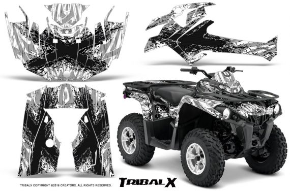 Can Am Outlander L 2014 2016 CreatorX Graphics Kit TribalX Black White 570x376 - Can-Am Outlander 2014-2019 450 570 L Max-L DPS Graphics