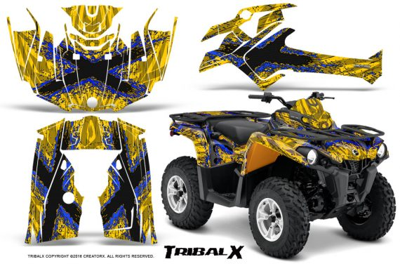 Can Am Outlander L 2014 2016 CreatorX Graphics Kit TribalX Blue Yellow 570x376 - Can-Am Outlander 2014-2019 450 570 L Max-L DPS Graphics
