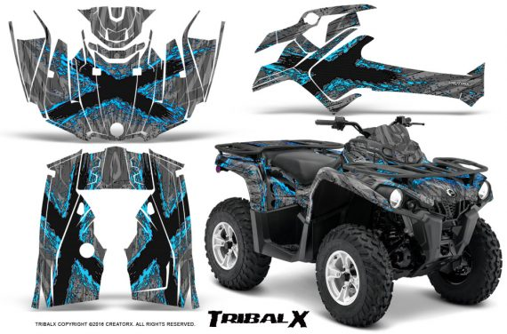 Can Am Outlander L 2014 2016 CreatorX Graphics Kit TribalX BlueIce Silver 570x376 - Can-Am Outlander 2014-2019 450 570 L Max-L DPS Graphics