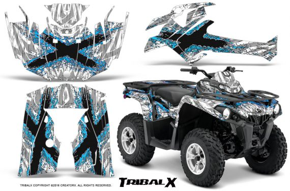 Can Am Outlander L 2014 2016 CreatorX Graphics Kit TribalX BlueIce White 570x376 - Can-Am Outlander 2014-2019 450 570 L Max-L DPS Graphics
