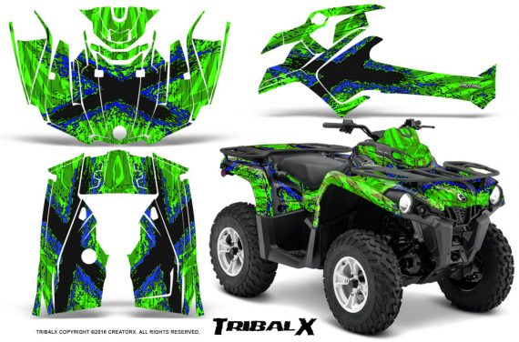 Can Am Outlander L 2014 2016 CreatorX Graphics Kit TribalX Blue Green 570x376 - Can-Am Outlander 2014-2019 450 570 L Max-L DPS Graphics