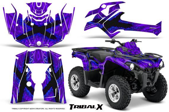 Can Am Outlander L 2014 2016 CreatorX Graphics Kit TribalX Blue Purple 570x376 - Can-Am Outlander 2014-2019 450 570 L Max-L DPS Graphics