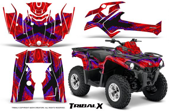 Can Am Outlander L 2014 2016 CreatorX Graphics Kit TribalX Blue Red 570x376 - Can-Am Outlander 2014-2019 450 570 L Max-L DPS Graphics