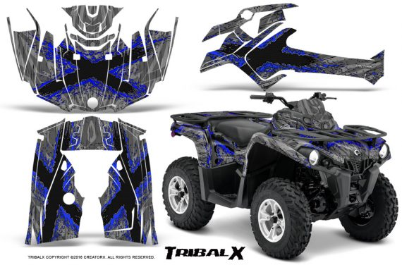 Can Am Outlander L 2014 2016 CreatorX Graphics Kit TribalX Blue Silver 570x376 - Can-Am Outlander 2014-2019 450 570 L Max-L DPS Graphics