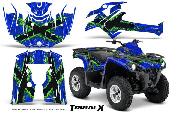 Can Am Outlander L 2014 2016 CreatorX Graphics Kit TribalX Green Blue 570x376 - Can-Am Outlander 2014-2019 450 570 L Max-L DPS Graphics