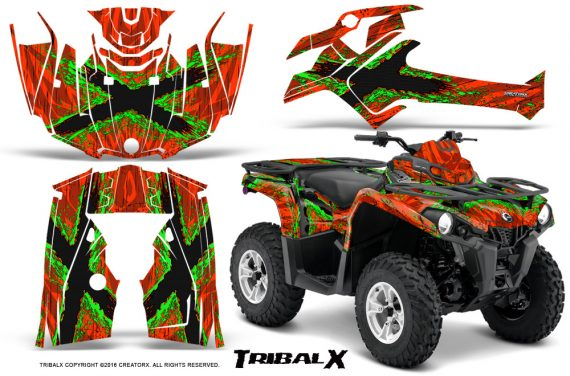 Can Am Outlander L 2014 2016 CreatorX Graphics Kit TribalX Green Red 570x376 - Can-Am Outlander 2014-2019 450 570 L Max-L DPS Graphics