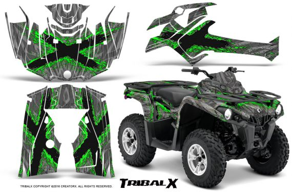 Can Am Outlander L 2014 2016 CreatorX Graphics Kit TribalX Green Silver 570x376 - Can-Am Outlander 2014-2019 450 570 L Max-L DPS Graphics