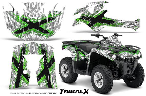 Can Am Outlander L 2014 2016 CreatorX Graphics Kit TribalX Green White 570x376 - Can-Am Outlander 2014-2019 450 570 L Max-L DPS Graphics