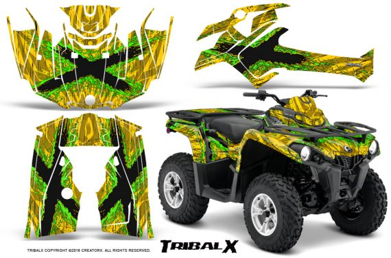 Can Am Outlander L 2014 2016 CreatorX Graphics Kit TribalX Green Yellow 570x376 - Can-Am Outlander 2014-2019 450 570 L Max-L DPS Graphics