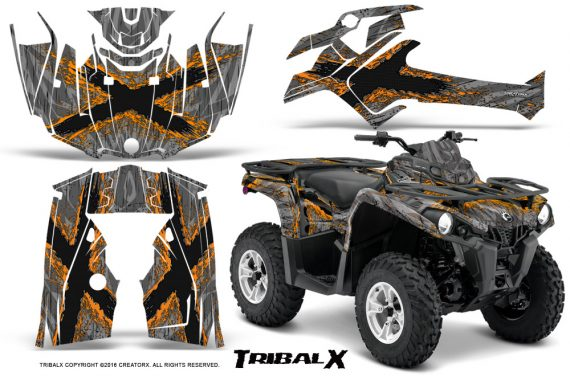 Can Am Outlander L 2014 2016 CreatorX Graphics Kit TribalX Orange Silver 570x376 - Can-Am Outlander 2014-2019 450 570 L Max-L DPS Graphics