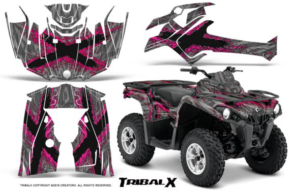 Can Am Outlander L 2014 2016 CreatorX Graphics Kit TribalX Pink Silver 570x376 - Can-Am Outlander 2014-2019 450 570 L Max-L DPS Graphics