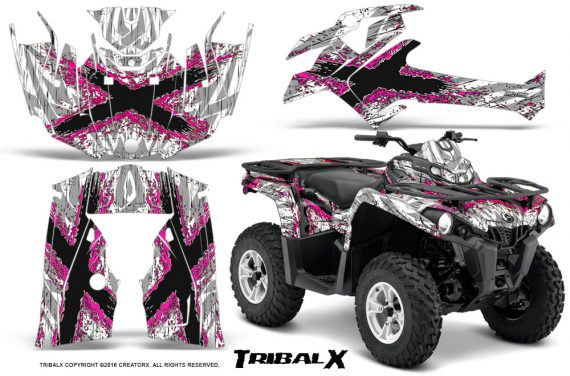 Can Am Outlander L 2014 2016 CreatorX Graphics Kit TribalX Pink White 570x376 - Can-Am Outlander 2014-2019 450 570 L Max-L DPS Graphics