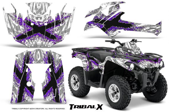 Can Am Outlander L 2014 2016 CreatorX Graphics Kit TribalX Purple White 570x376 - Can-Am Outlander 2014-2019 450 570 L Max-L DPS Graphics