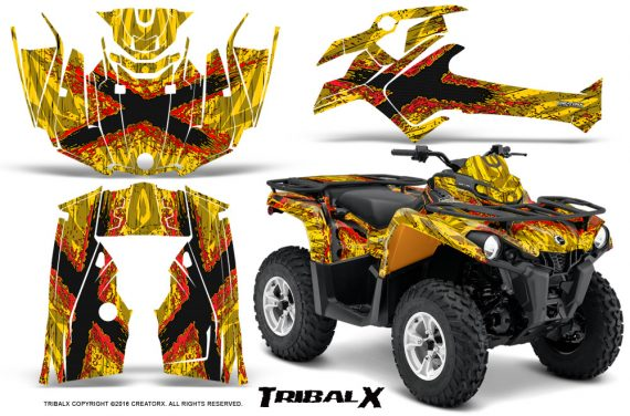 Can Am Outlander L 2014 2016 CreatorX Graphics Kit TribalX Red Yellow 570x376 - Can-Am Outlander 2014-2019 450 570 L Max-L DPS Graphics