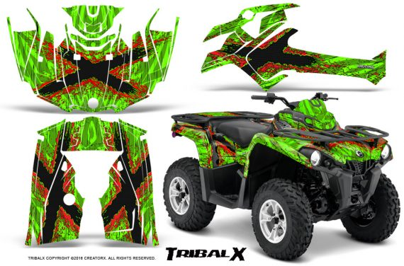 Can Am Outlander L 2014 2016 CreatorX Graphics Kit TribalX Red Green 570x376 - Can-Am Outlander 2014-2019 450 570 L Max-L DPS Graphics