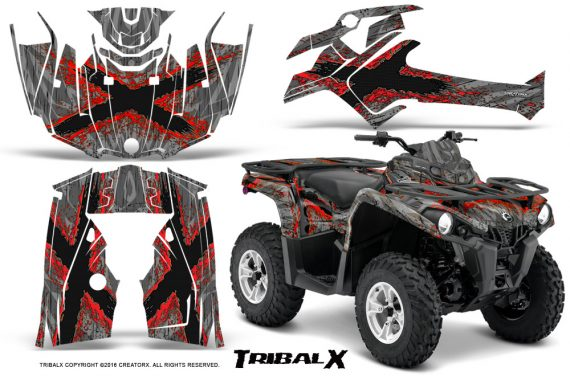 Can Am Outlander L 2014 2016 CreatorX Graphics Kit TribalX Red Silver 570x376 - Can-Am Outlander 2014-2019 450 570 L Max-L DPS Graphics