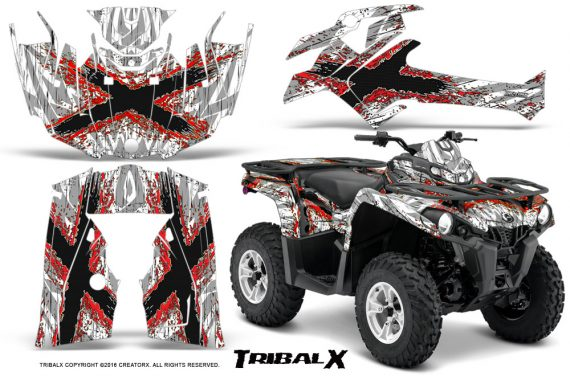 Can Am Outlander L 2014 2016 CreatorX Graphics Kit TribalX Red White 570x376 - Can-Am Outlander 2014-2019 450 570 L Max-L DPS Graphics