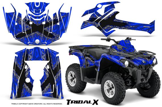 Can Am Outlander L 2014 2016 CreatorX Graphics Kit TribalX Silver Blue 570x376 - Can-Am Outlander 2014-2019 450 570 L Max-L DPS Graphics