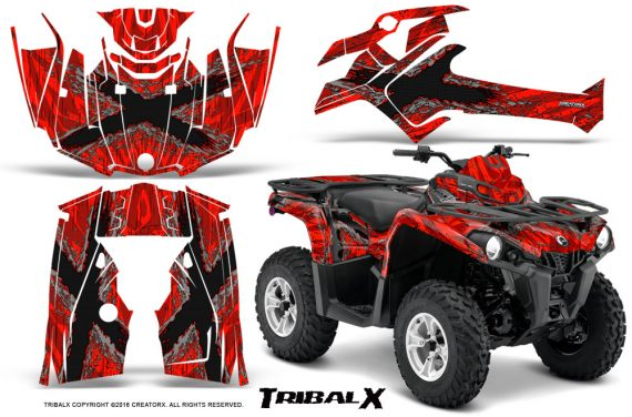 Can Am Outlander L 2014 2016 CreatorX Graphics Kit TribalX Silver Red 570x376 - Can-Am Outlander 2014-2019 450 570 L Max-L DPS Graphics